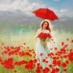 Пазл онлайн: Красный зонт