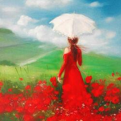 Пазл онлайн: Белый зонт