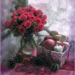 Пазл онлайн: Розы и ёлочные игрушки