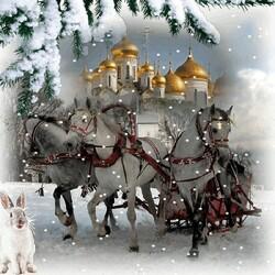 Пазл онлайн: Три белых коня