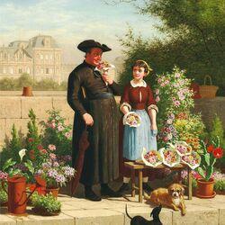 Пазл онлайн: Священник и цветочница