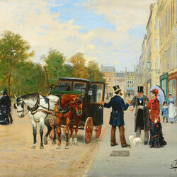 Пазл онлайн: Прогулка в Париже