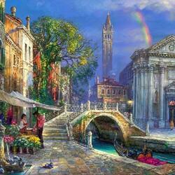Пазл онлайн: Радуга над Венецией