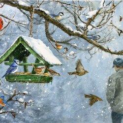 Пазл онлайн: Птичий пир