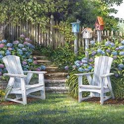 Пазл онлайн: В саду возле гортензий