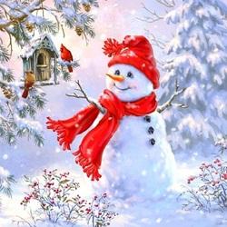 Пазл онлайн: Милый снеговик