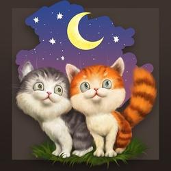 Пазл онлайн: Ночь. Луна. Котята