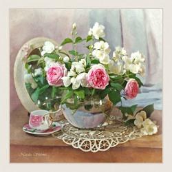 Пазл онлайн: Розовые розы с жасмином
