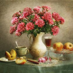 Пазл онлайн: Натюрморт с яблоками и осенними цветами