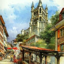 Пазл онлайн: Лозанна, Швейцария