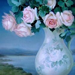 Пазл онлайн: Букет роз в белой вазе