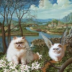 Пазл онлайн: Крылатые коты