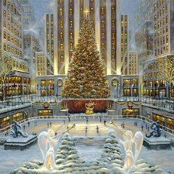 Пазл онлайн: Праздник в Нью-Йорке - Rockefeller Center, Нью-Йорк