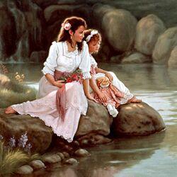 Пазл онлайн: Мама с дочкой