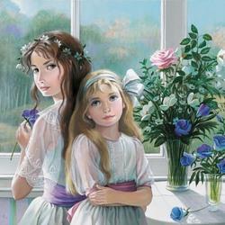 Пазл онлайн: Сестренки