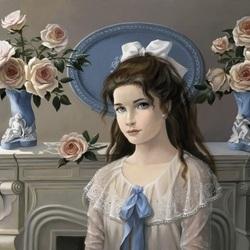 Пазл онлайн: Девушка на фоне роз