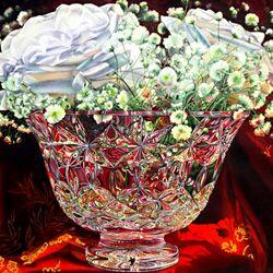 Пазл онлайн: Белые розы в хрустальной вазе