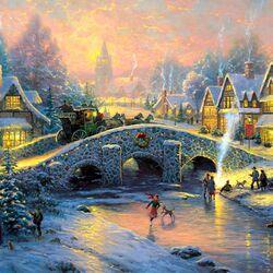 Пазл онлайн: Зимняя деревня