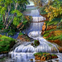 Пазл онлайн: Водный каскад