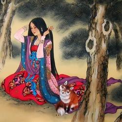 Пазл онлайн: Картины на шелке.Девушка с лисой