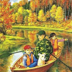 Пазл онлайн: С папой в лодке