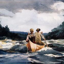 Пазл онлайн: Каноэ на быстрой реке