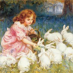 Пазл онлайн: Кормление кроликов