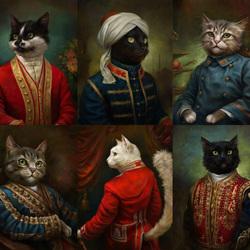 Пазл онлайн: Коты Эрмитажа