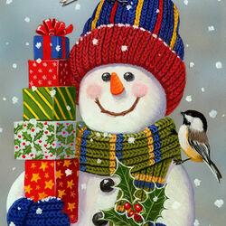 Пазл онлайн: Снеговик с подарками