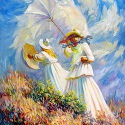 Пазл онлайн: Моне,  Ветренный день