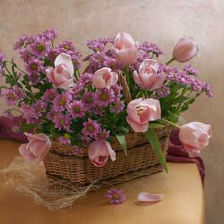 Пазл онлайн: Букет в розовых тонах