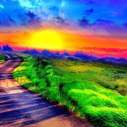 Пазл онлайн: Дорога в поле