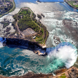 Пазл онлайн: Ниагарский водопад сверху