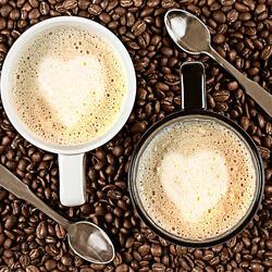 Пазл онлайн: Кофе латте для двоих