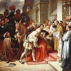 Пазл онлайн: Кардинал Вулси у ворот Лестерского аббатства
