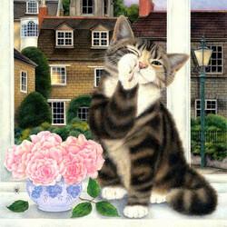 Пазл онлайн: Кошка у окошка