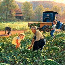 Пазл онлайн: Урожай на бахче