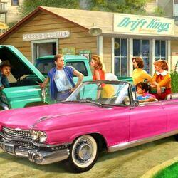 Пазл онлайн: Розовый автомобиль