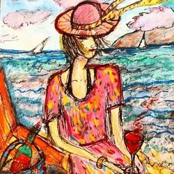 Пазл онлайн: Дама на пляже