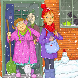 Пазл онлайн: Морковка для снеговика
