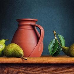 Пазл онлайн: Натюрморт с грушами