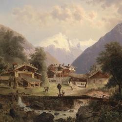 Пазл онлайн: Альпийская деревня