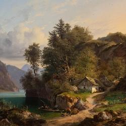 Пазл онлайн: На берегу горного озера
