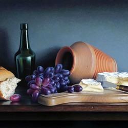 Пазл онлайн: Натюрморт с виноградом