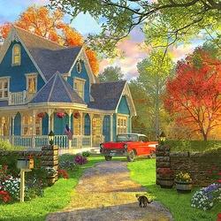 Пазл онлайн: Голубой дом