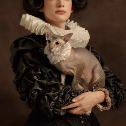 Пазл онлайн: Дама с кошкой
