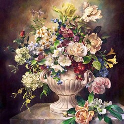 Пазл онлайн: Букет в белой вазе