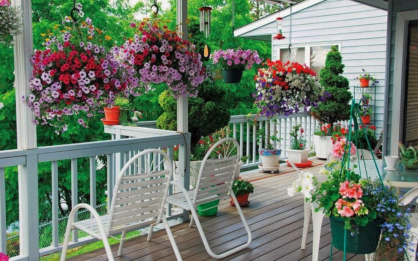 Цветы на террасе дачного дома