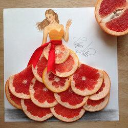 Пазл онлайн: Грейпфрут платье