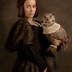Пазл онлайн: Дама с совой